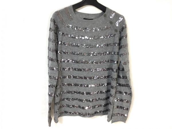 ザディグエヴォルテール 長袖セーター サイズM レディース新品同様  グレー×シルバー