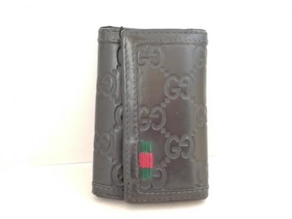 GUCCI(グッチ) キーケース シマライン 278592 黒 6連フック レザー
