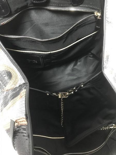 ヴィセッタンタトレ トートバッグ美品  黒×シルバー×マルチ スパンコール×レザー