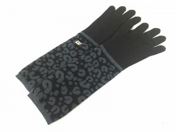 LOUIS VUITTON(ルイヴィトン) 手袋 レディース新品同様  黒×グレー ラメ