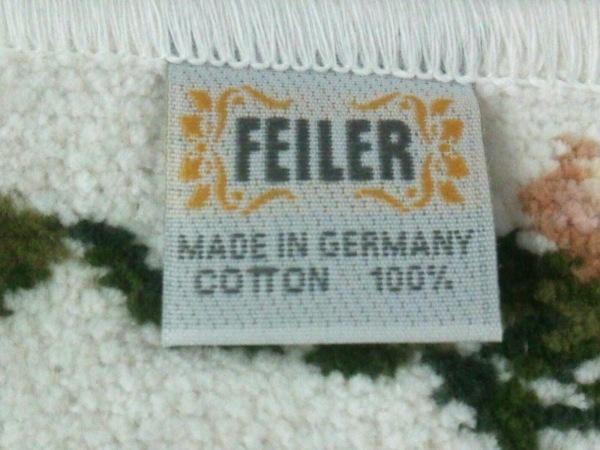 FEILER(フェイラー) ハンカチ美品  白×ダークグリーン×マルチ 3