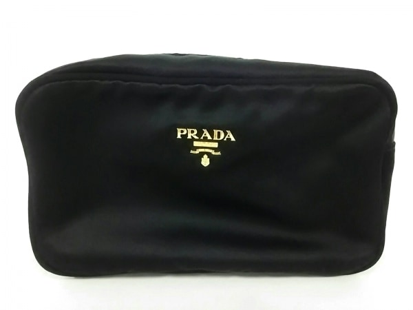PRADA(プラダ) ポーチ美品  - 黒 サテン