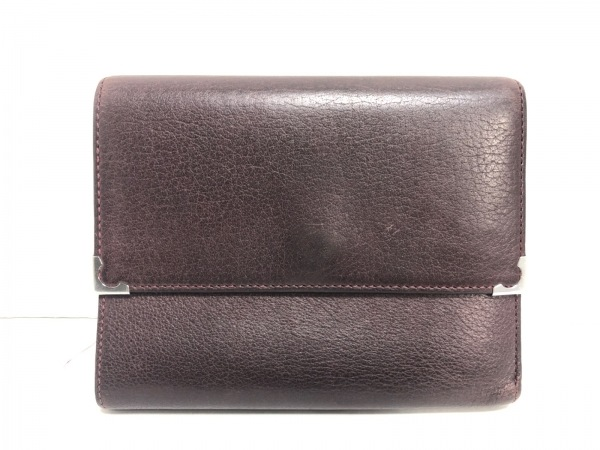 Cartier(カルティエ) 2つ折り財布 - ボルドー レザー