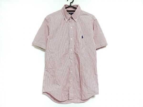 RalphLauren(ラルフローレン) 半袖シャツ サイズXS メンズ 白×レッド ストライプ