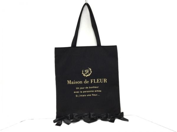 Maison de FLEUR(メゾンドフルール) トートバッグ美品  黒×ゴールド リボン サテン