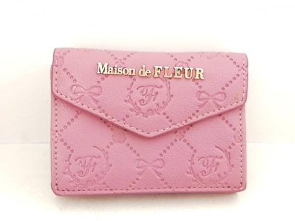 Maison de FLEUR(メゾンドフルール) Wホック財布 パープル 型押し加工 合皮