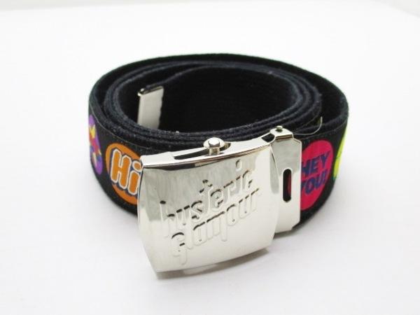 ヒステリックグラマー ベルト 黒×ピンク×マルチ ナイロン×キャンバス×金属素材