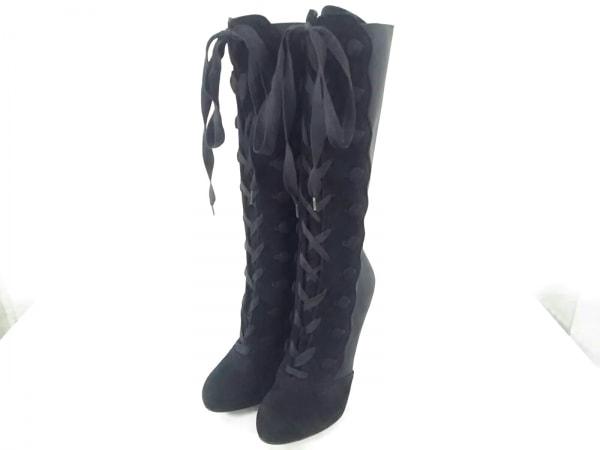 ドルチェアンドガッバーナ ロングブーツ 37 レディース美品  黒 化学繊維×スエード