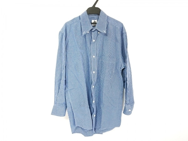 LANVIN(ランバン) 長袖シャツ メンズ美品  ブルー×白 チェック柄