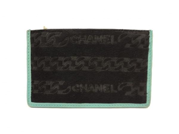 CHANEL(シャネル) コインケース - 黒×ライトグリーン ゴールド金具 ハラコ×レザー