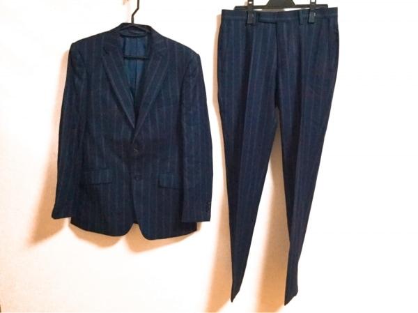 キャサリンハムネット シングルスーツ サイズM メンズ 黒×グレー ストライプ