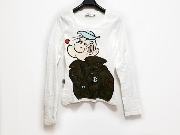 MOSCHINO(モスキーノ) 長袖Tシャツ サイズ40I レディース 白×カーキ×マルチ JEANS