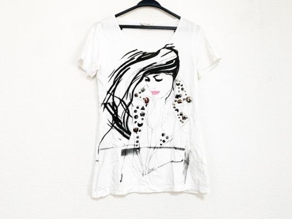 DIESEL(ディーゼル) 半袖Tシャツ サイズXS メンズ美品  白×黒 ビーズ