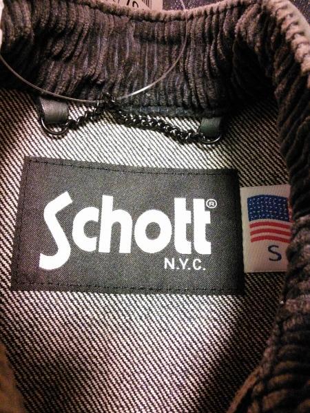 schott(ショット) ブルゾン サイズS メンズ ネイビー×グレー デニム/レザー/春・秋物
