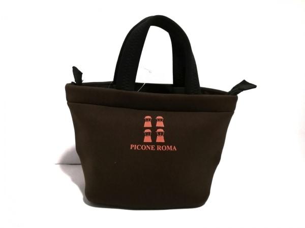 PICONE(ピッコーネ) ハンドバッグ美品  ダークブラウン×オレンジ ナイロン