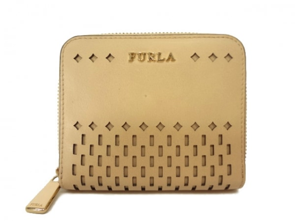 FURLA(フルラ) 2つ折り財布 ベージュ ラウンドファスナー/パンチング レザー