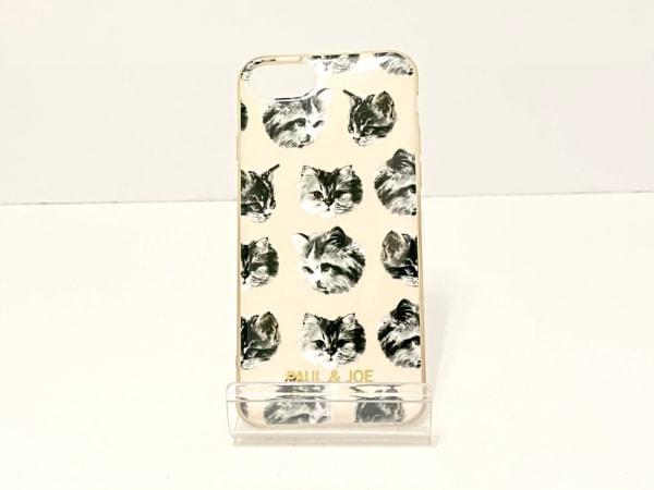 Paul&Joe(ポール&ジョー) 携帯電話ケース ピンクベージュ×黒×マルチ ネコ ラバー