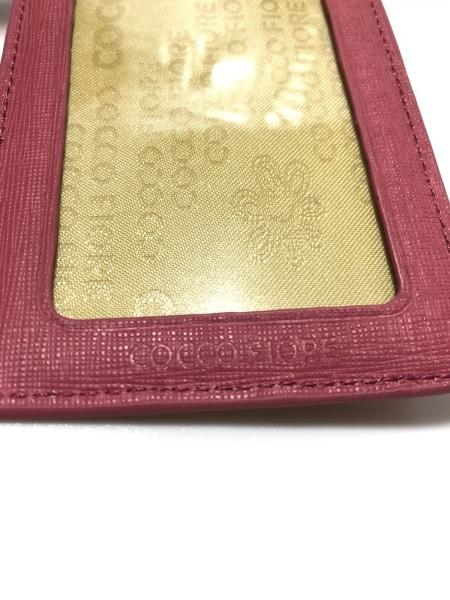 COCCO FIORE(コッコフィオーレ) カードケース美品  ピンク×ベージュ 型押し加工