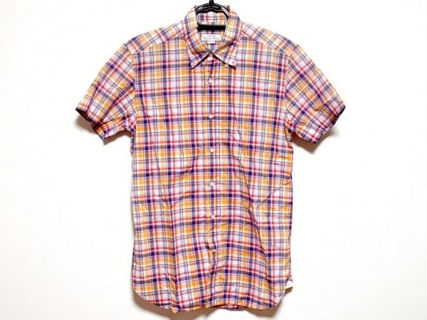 ORIAN(オリアン) 半袖シャツ サイズ38 M メンズ美品  オレンジ×マルチ チェック柄