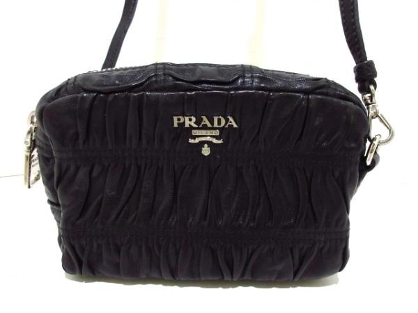 プラダ ショルダーバッグ美品  ギャザーバッグ 1N1674 黒 ミニサイズ ナッパレザー