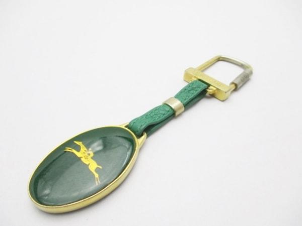 LONGCHAMP(ロンシャン) キーホルダー(チャーム) ゴールド×グリーン 金属素材×レザー