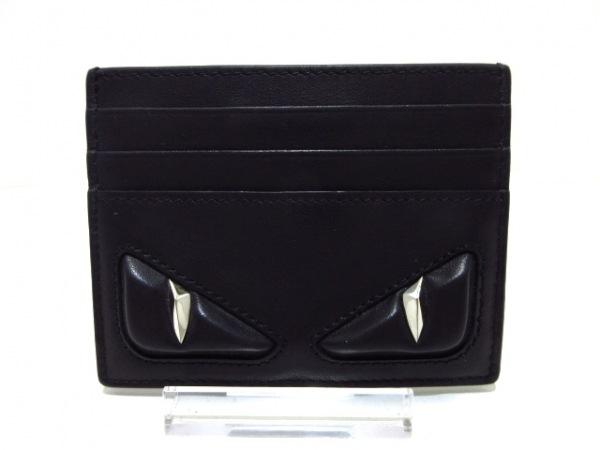 FENDI(フェンディ) カードケース - 7M0164-O76 黒×シルバー レザー×金属素材
