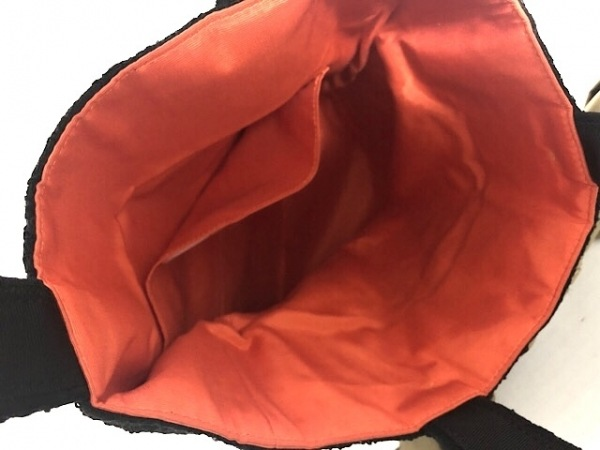 MUGUET(ミュゲ) トートバッグ美品  黒×カーキ リボン/レース 化学繊維×ナイロン