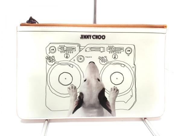 ジミーチュウ クラッチバッグ美品  CHOO HOUND 白×オレンジ×マルチ レザー