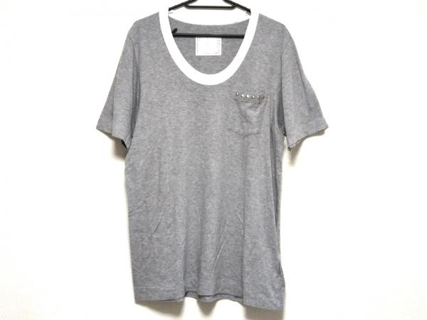 サカイ 半袖Tシャツ サイズ3 L メンズ美品  14-00732M ライトグレー×白 スタッズ