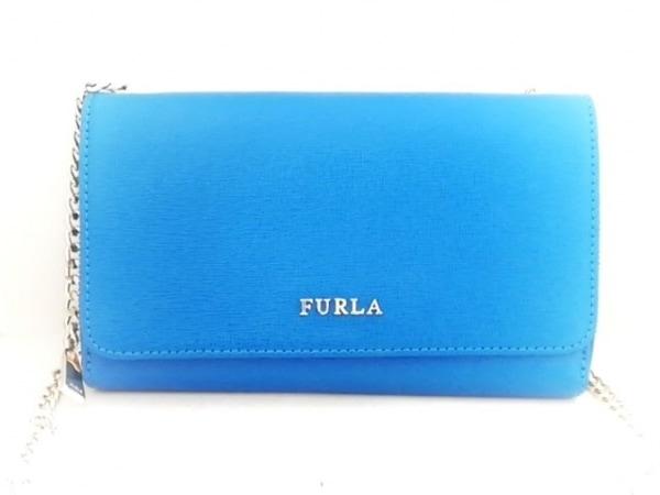 FURLA(フルラ) 財布 ブルー×ゴールド チェーンウォレット レザー×金属素材