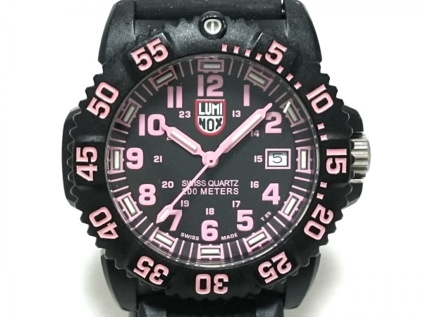 LUMINOX(ルミノックス) 腕時計 シールズ 7050 レディース ラバーベルト 黒×ピンク