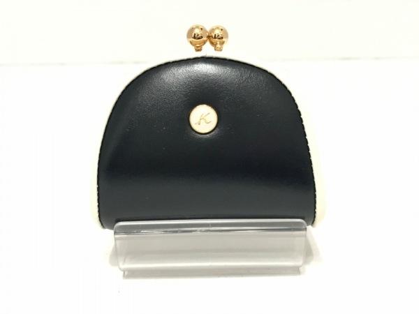 KITAMURA(キタムラ) コインケース 黒×白 がま口 レザー