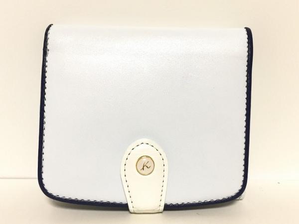 KITAMURA(キタムラ) 2つ折り財布 白×ネイビー レザー