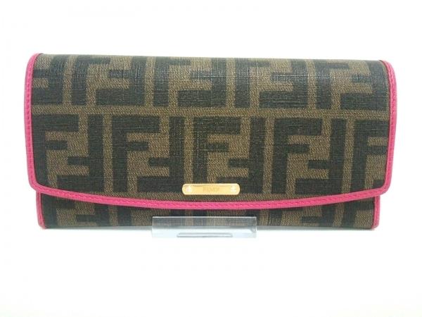 FENDI(フェンディ) 長財布 ズッカ柄 8M0326 ブラウン×黒×ピンク 1