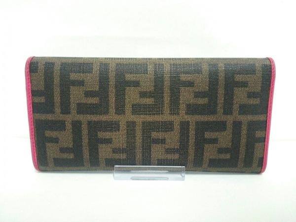 FENDI(フェンディ) 長財布 ズッカ柄 8M0326 ブラウン×黒×ピンク 2