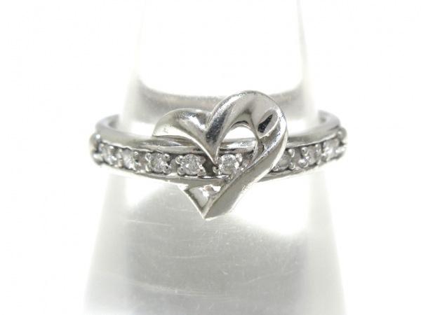 スタージュエリー リング美品  K18WG×ダイヤモンド ハート/8Pダイヤ/0.06カラット