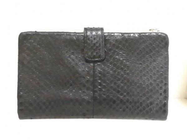 SANPO(サンポー) 財布美品  黒 L字ファスナー パイソン