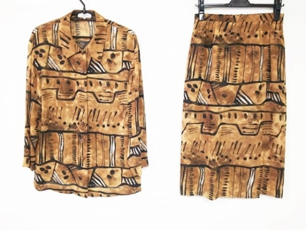 レリアン スカートセットアップ サイズ9 M レディース美品  ブラウン×黒×白