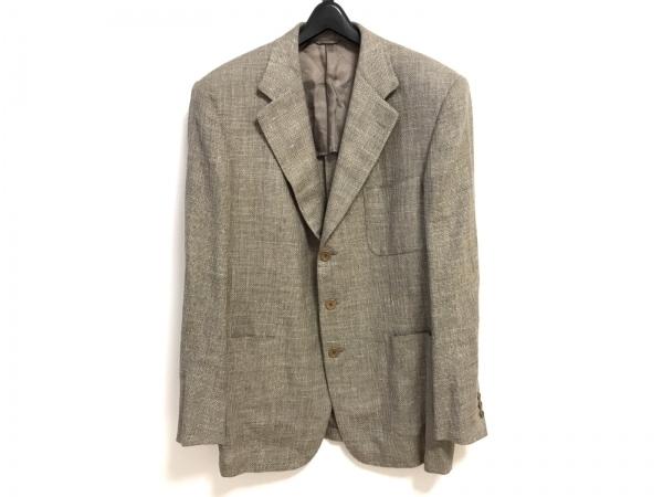 mila schon(ミラショーン) ジャケット メンズ ベージュ×グレー 肩パッド/ネーム刺繍