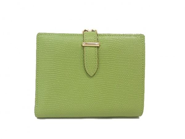 GANZO epoi(ガンゾエポイ) 2つ折り財布美品  グリーン がま口/型押し加工 レザー