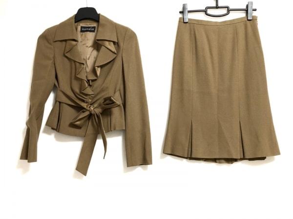 ヨーコドール スカートスーツ サイズ40 M レディース美品  ブラウン フリル