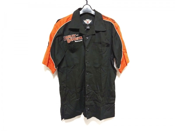 ハーレーダビッドソン 半袖シャツ サイズM メンズ 黒×オレンジ×白 刺繍/ワッペン