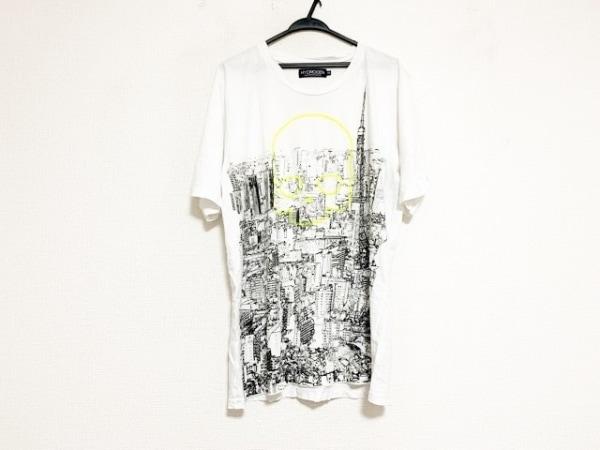 HYDROGEN(ハイドロゲン) 半袖Tシャツ サイズXXL XL メンズ 白×黒×ライトグリーン
