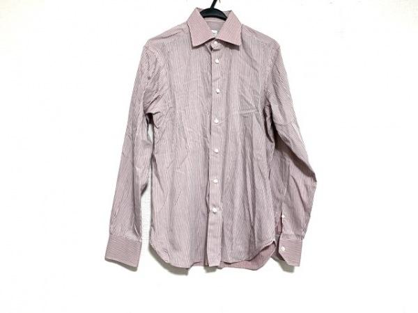ゼニア 長袖シャツ サイズM メンズ美品  ピンク×ボルドー ストライプ