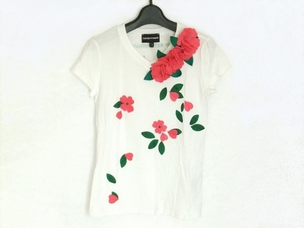 エンポリオアルマーニ 半袖Tシャツ サイズ38 S レディース 白×ピンク×マルチ