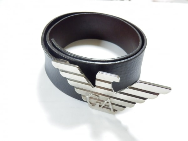 エンポリオアルマーニ ベルト 40 ダークブラウン×シルバー レザー×金属素材