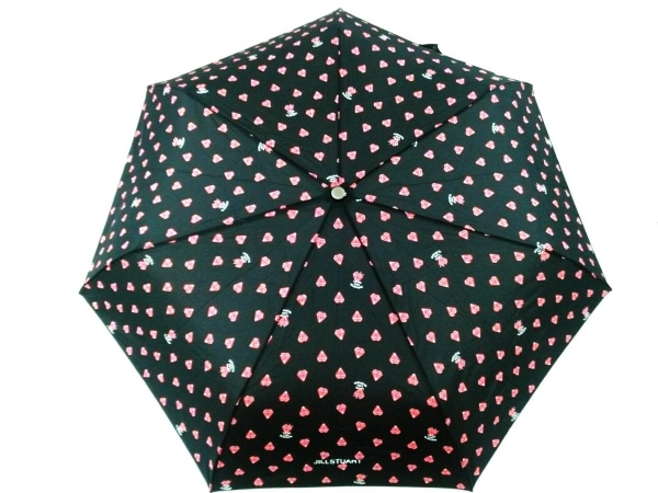 JILL STUART(ジルスチュアート) 折りたたみ傘美品  黒 ハート柄 ナイロン
