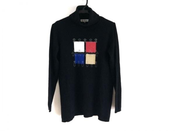 ピッコーネ 長袖セーター サイズ38 S レディース 黒×マルチ タートルネック/カシミヤ