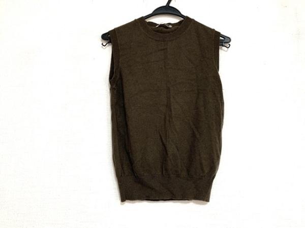 ジルサンダー ノースリーブセーター サイズ36 S レディース美品  - ダークブラウン