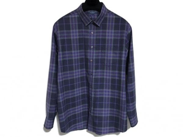 バーバリーロンドン 長袖シャツ サイズLL メンズ美品  黒×ダークグレー×パープル